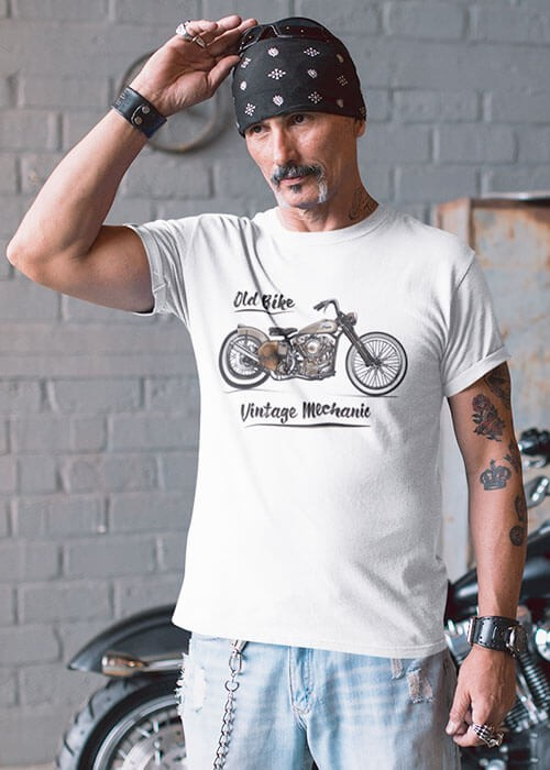 T-shirt Old Bike Moto Vintage Mechanic (Modèle taille S)