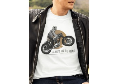 T-shirt Moto Always on the road Homme manches courtes (modèle taille L)