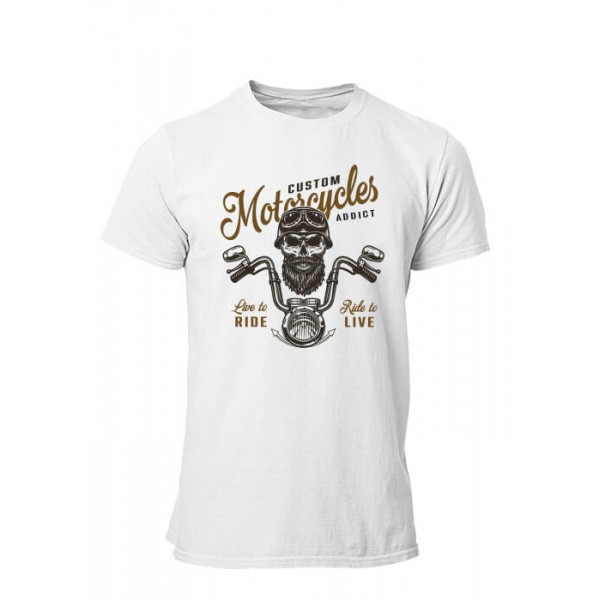 T-shirt Motorcycle Live to ride manches courtes