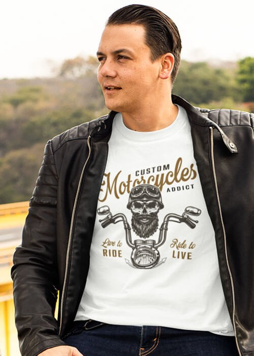 T-shirt Motorcycle Live to ride manches courtes (modèle taille L)
