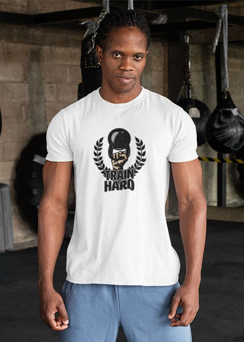 Tee shirt Train Hard Fitness musculation Homme manches courtes (modèle taille M)
