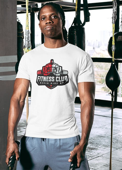 Tee shirt Never give up fitness Homme manches courtes (modèle taille M)