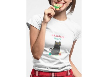 T-shirt Chatdore Noël Femme manches courtes zoom