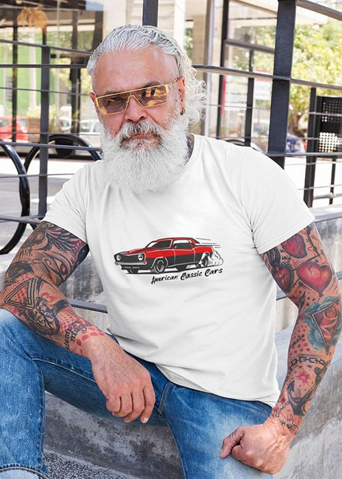 T-shirt American Classic Cars Homme manches courtes (modèle taille M)