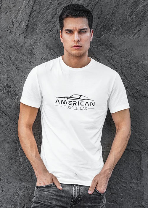 T-shirt American Cars Homme manches courtes (modèle taille S)